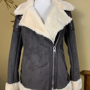 Michael Kors Leather Suede Shearling Jacket XS